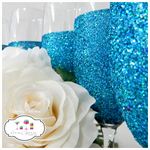 Peacock Blue Bridal Party Champagne Glitter Glass Mix and Match x 4