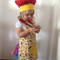 Child's Apron and chef hat - Yellow with variety of figures