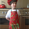 Child's apron and chef hat - lizards on a red background