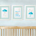 No Rainbow without Rain - Baby Nursery Art Print - Set of 3