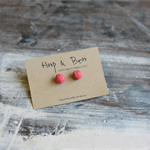 Watermelon faceted geometric polymer clay studs