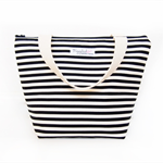 Insulated Tote Lunch Bag with Waterproof Lining - Black and White Stripe