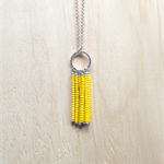 YELLOW COLOUR BASICS SIMPLE SILVER CIRCLES TASSEL PENDANT NECKLACE
