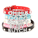 Dog Collars, with their name in Crystal - lots of colours and sizes