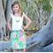 """""""Field Day"""" Bright & fun Summer skirt Sizes 2, 3 and 4  Green Pink Floral Bees"""