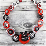 Little Black Cat - Red Black White - Swirls - Button Necklace and Earrings