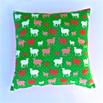 Apple Green, Coral Pink and White Lambs Cushion Cover
