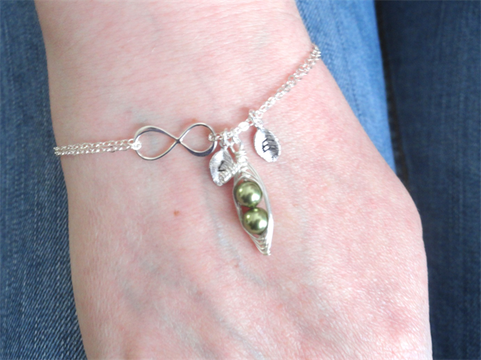 Personalized Sterling Silver Infinity Two Peas In A Pod