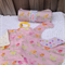 Baby gift set - Change Mat + Taggie Blanket + Bib + Burp Cloth Pink with birds