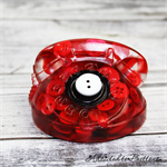 Cute Red Old School Telephone -Paperweight / Ornament -Solid Button Filled Resin