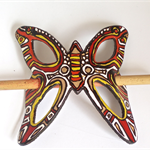 Handpainted Red, Gold Black White Blue Leather Butterfly Hairpiece & Wood