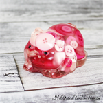 Pink Pig Piglet Paperweight / Ornament - Solid Button Filled Resin