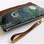 Wristlet, clutch, floral, Liberty of London fabric and leather