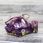 Purple Fish / Dolphin Paperweight / Ornament - Solid Button Filled Resin