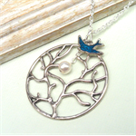 Full Moon Tree Necklace Silver Plate Chain With Enamel Bird