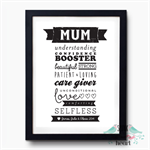 Words for Mothers Mum Print Wall Art