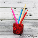 Button Pot - Resin & Buttons - RED Pencil, paperclip, toothpick holder, vase