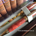 Graceful Gold/Red Mallee European Cigar Pen and Letter Opener Set