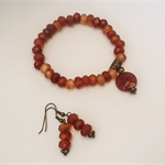 Carnelian Rondelle Bracelet and Earring Set