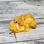 Sunshine Yellow Button Hippo Paperweight / Ornament - Solid Button Filled Resin