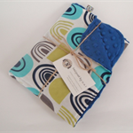 Blue Shapes/Cot/Pram Minky Blanket