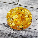 Yellow Buttons Drink coaster / paperweights - SINGLE - Resin