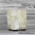 Button Pot - Resin & Buttons - WHITE Pencil, paperclip, toothpick holder, vase