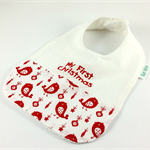 Christmas Baby Bib, Embroidered with My First Christmas, Little Bird Fabric.