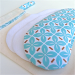 Lavender Eye Mask:  Blue and Brown Pinwheels with Blue Sketched Floral Back