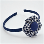 School Headband - Navy Gingham