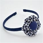 School Headband - Navy Gingham