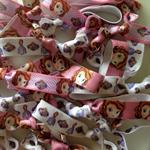 BULK 20 PACK Sofia the First Disney Princess Print Elastic Girls Hair Ties
