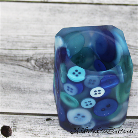 Button Pot - Resin & Buttons - BLUE Pencil, paperclip, toothpick holder, vase