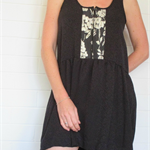 Zip front ladies dress in Black silk, size 10 and 12.