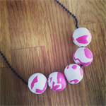 Pink and White Marble Polymer Clay Handmade Necklace