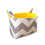 Fabric Storage Organiser Bin Basket - Grey Chevron with Yellow