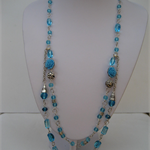 VINTAGE STYLE LONG BLUE ROSE NECKLACE