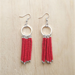 RED COLOUR BASICS SIMPLE SILVER CIRCLES TASSEL EARRINGS - FREE SHIPPING