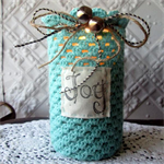 Large Hand Crochet Covered Jar for Christmas