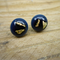 Burst of Colour Navy and Gold Fused Glass Earrings