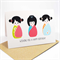 Happy Birthday Card - Female - 3 Kokeshi Dolls - Bright - HBF091