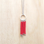 RED COLOUR BASICS SIMPLE SILVER CIRCLES TASSEL PENDANT NECKLACE - FREE SHIPPING