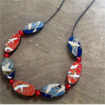 Japanese paper wooden necklace