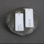 Apple Keyboard Resin Earrings Handmade - Turquoise Shift and Enter