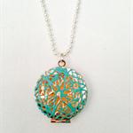 Aqua Verdigris Locket Necklace