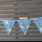Grey, Beige, Cream & Blue Decorated Fabric Bunting  Shabby Chic