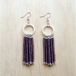 PURPLE (TRANSPARENT) COLOUR BASICS SIMPLE SILVER CIRCLES TASSEL EARRINGS