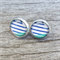 Glass dome stud earrings - Summer stripes