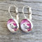 Glass dome hoop earrings - Unicorn / purple