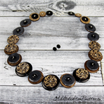 Black Damask Swirl Coconut Brown Buttons Necklace Button Jewellery - Earrings